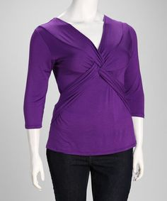 Take a look at this Purple Twist-Front Plus-Size Top by GLAM on #zulily today!