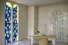 """Henri Matisse """"Chapelle de Rosaire"""" Vence, France. The exact counterpoint to the Rothko Chapel of Houston. Both beautiful."""