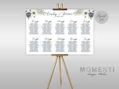 Tableau mariage con fiori acquerello, Tableau de mariage blu stampabile floreale,Grafico posti a sedere floreale, The Annie collection