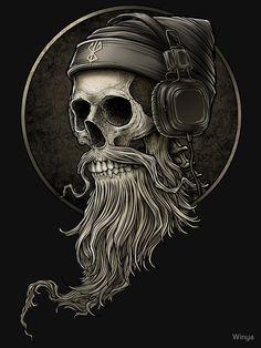 Pin by Horst Kmieciak on Kopfhörer tattoo in 2020 Beard Logo, Beard Tattoo, Skull Tattoos, Tatoos, Trash Polka Tattoos, Tattoo Model Mann, Hirsch Tattoo, Tattoo Dotwork, Skull Art