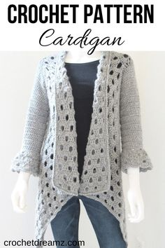 This gorgeous crochet cardigan pattern with bell sleeves is easy enough for beginners. Made of worsted weight yarn, your work grows fast. Crochet Shirt, Crochet Jacket, Crochet Vests, Crochet Cape, Crochet Shrug Pattern Free, Crochet Patterns, Crochet Edgings, Shawl Patterns, Crochet Motif