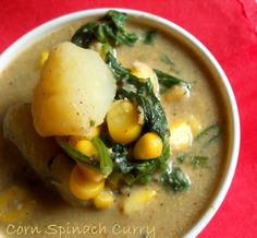Spinach, Corn, Potato Indian Curry