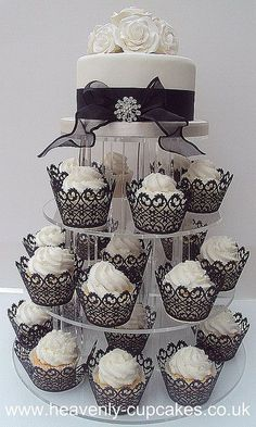 Black & White Wedding Cupcake Tower- Nottingham by Heavenly-Cupcakes, add some red for your bridal shower??: