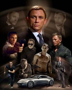 Daniel Craig as Bond. James Bond Movie Posters, James Bond Movies, James Bond Actors, Daniel Craig 007, Daniel Craig James Bond, Ben Whishaw, Gentlemans Club, Rachel Weisz, Caricatures