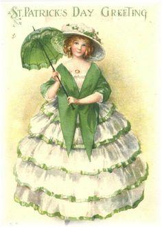 Vintage St. Patrick's Day ladies in green