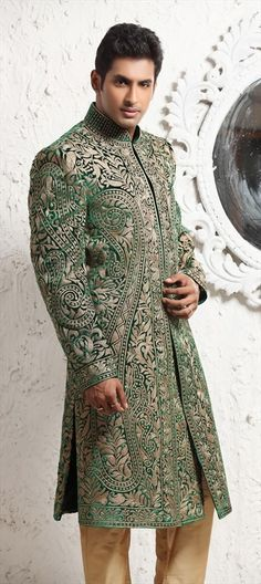 Sherwani, Brocade, Zari, Kasab, Thread, Green Color Family. #IndianFashion