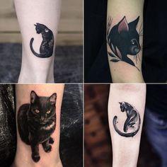tatuagem de gato preto