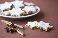 Healthy Cinnamon Stars with Coconut Frosting
