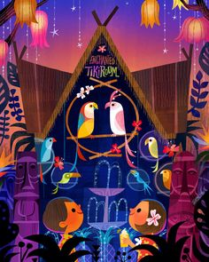 """""""Sing like a Tiki Bird"""" (Enchanted Tiki Room) 2014 is one of the art work for the signing that I am doing at WonderGround Gallery downtown Disney this Nov. 15th from 11am-1pm. http://disneyparksmerchandise.com/events/artist-showcase-with-jasmine-beck..."""