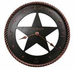 convex cast resin Quartz Wall Clock Howard Miller 625445 MAVERICK-This convex, cast resin wall clock features a western star surrounded by a molded rope edge and an oil rubbed bronze finish. Western Decor, Western Cowboy, Western Theme, Western Style, Wall Clock Analog, Wall Clocks, Howard Miller Wall Clock, Westerns, Mantel Clocks