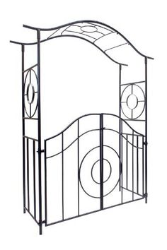 Achla Designs Tuscany Arbor with Gate by Achla. $423.31. Easy slip-in components; no tools necessary. Ground stakes included for in-ground installation. Graphite powder coated for maximum protection against weather. Create an elegant garden entrance with one of Achla Designs' handcrafted wrought iron arbors. All our arbors are designed to be shipped flat. They are erected using easy-slip components. No screws or tools are required. The arbor stands tall enough t...