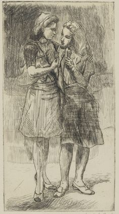 """""""Friends, v/x,"""" Isabel Bishop, 1942, etching and graphite on paper, 7 1/2 x 4"""", Pennsylvania Academy of the Fine Arts."""