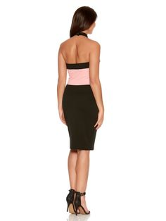 Pink And Black Lace Trim Bodycon Dress - Quiz Clothing