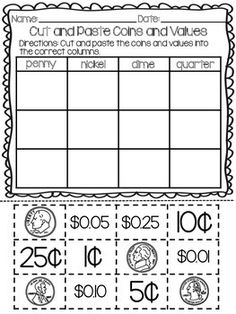 Identifying Coins and Values Students practice identifying coins and values in this cut and paste activity. Students cut and paste the front of a quarter, dime, nickel and penny as well as values written in dollar notation and cent notation. Math Strategies, Math Resources, Math Activities, Fun Math, Math Games, Life Skills Classroom, Math Classroom, Kindergarten Math, Preschool