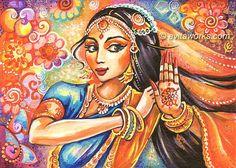 Indian Art, Indian Dancer, Indian Painting, Dancing Girl, Bollywood Dancer, Indian Dance, Wall Decor - Art Print 9.5x13 via Etsy