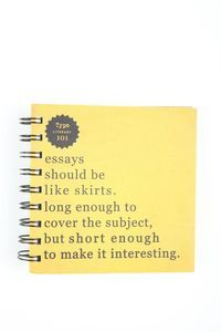 Essays should be like skirts. Squared Notebook, Cute Stationary, Stylish Home Decor, School Counseling, Office Organization, Journal Notebook, Novelty Gifts, Typo, Psychology