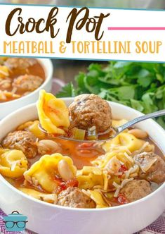 This easy Italian-inspired Crock Pot Meatball and Tortellini Soup is an all-in-one slow cooker meal that is made with pre-made meatballs and cheese tortellini! Crock Pot Slow Cooker, Crock Pot Cooking, Slow Cooker Recipes, Italian Recipes, Crockpot Recipes, Soup Recipes, Cooking Recipes, Cooking Tips, Spanish Recipes