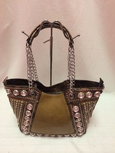 Brown rhinestone embellished handbag.  www.shopspoiledgirl.com