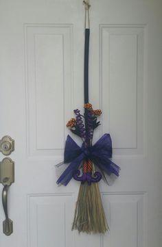 Witch Broom Door Hanger by OliviaandLily on Etsy