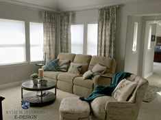 Sherwin Williams Repose Gray in living room with beige couch, carpet and drapes. Kylie M Interiors E-design and Online Color Consulting expert Living Room Green, Living Room Carpet, Bedroom Carpet, New Living Room, Living Room Sofa, Living Room Decor, Bedroom Decor, Beige Couch, Repose Gray