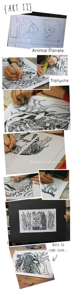 Scribble Drawing Lesson Plan : Arceren pointilleren met kroontjespen en oostindische