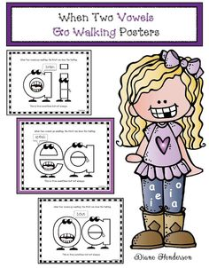 These 4 posters featuring the most common vowel pairs: ai, ea, oa & oe, which most often fit the Jolly Phonics, Teaching Phonics, Teaching Reading, Kindergarten Literacy, Kids Reading, Vowel Activities, Reading Activities, Reading Strategies, Classroom Freebies