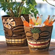 Tiki Flower Pots / Ice Buckets They may look like they were handcarved on some breezy tropical islan Tiki Hut, Décor Tiki, Tiki Party, Luau Party, Yard Party, Bars Tiki, Outdoor Tiki Bar, Tiki Bar Decor, Tiki Bar Stools