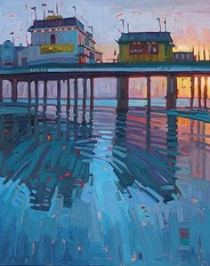"""Sunrise At the Pier,"" by Rene' Wiley by René Wiley Gallery Oil ~ 30 x 24 Abstract Landscape, Landscape Paintings, Painting Inspiration, Art Inspo, Pintura Exterior, Guache, Wow Art, Traditional Art, Painting & Drawing"