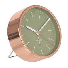 Karlsson Alarm Clock Minimal - Green - copper desk clock