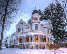 Victorian at Christmas time. Snow adds to its beauty.