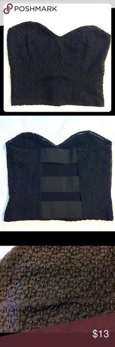 NWOT Black Bustier Kimchi Blue - Urban Outfitters.                              Bought this to wear to college parties but then didn't end up being one for parties.  My loss, your gain! Urban Outfitters Tops Crop Tops