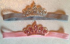 Beautiful Rhinestone Princess Tiara Infant/Children's Headbands: Pink or Silver on matching elastic headbands Newborn, Infant, Toddler, Girl...