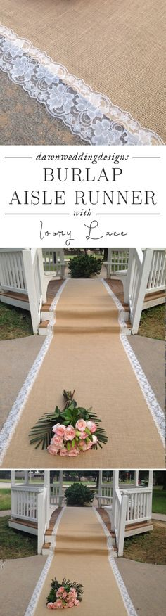 Rustic Wedding -  Burlap and Lace Aisle Runner - IVORY Lace, Pull Cord; Rustic Wedding, Country Wedding, Outdoor/Barn Wedding/Farm Wedding/Beach Wedding