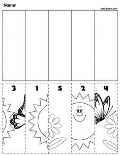 1 Spring flowers bugs preschool cut and order for numbers Package includes five no prep worksheets Cutting Activities, Preschool Learning Activities, Spring Activities, Kindergarten Worksheets, Preschool Activities, Ordering Numbers, Homeschool Kindergarten, Cut And Paste, Spring Crafts
