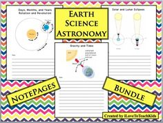 SAVE $$$ 1.00 $$$ on 3 NotePages!  When you purchase this BUNDLE.  Topics Include:  Solar and Lunar Eclipses, Days, Months, Years, Revolution, Rotation, Gravity and TidesThe illustrations make understanding easy for students as they take detailed notes about the topics.