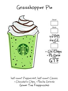 Grasshopper Pie: Half-Sweet Peppermint + Half-Sweet Classic + Chocolate Chips + Mocha Drizzle + Green Tea Frappuccino