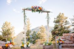pretty altar with colorful spring flowers at Sunrise Amphitheater in Colorado