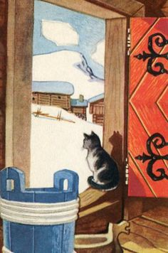 Cat in winter Crazy Cat Lady, Crazy Cats, Beautiful Norway, Winter Illustration, Scandinavian Art, Cat Drawing, Cats And Kittens, Kitty Cats, Vintage Postcards
