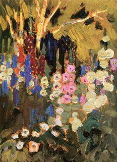 The Athenaeum - MACDONALD, J.E.H. English-born Canadian Group of Seven (1873-1932)_Garden Flowers- circa 1915