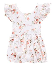 This White & Pink Floral Bubble Romper - Infant & Toddler is perfect! #zulilyfinds