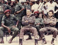 Angolan Civil War - two captured Cuban pilots with UNITA forces.