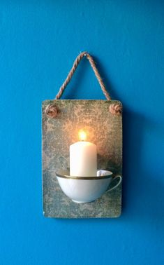 Candle Holder, Christmas, Wall Candle Holder Shabby – Keep up with the times. Concrete Crafts, Concrete Projects, Shabby Vintage, Cactus E Suculentas, Recycling Containers, Wall Candle Holders, Diy Candles, Candle Making, Candlesticks