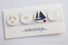 """Heute habe ich eine maritime Karte für Euch, die ich mit den neuen Clear-Stamps """"An der See"""" erstellt habe. Alle verwendeten Sachen findet ihr in der Erlebniswelt. LG Dani"""