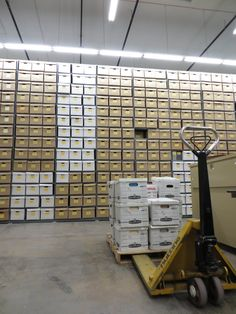 A wall of boxes in the Wyoming State Archives' off-site facility, Archives South/State Records Center.