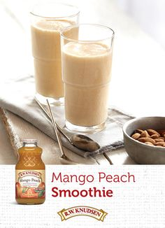 Sweeten up your afternoon with a refreshing smoothie. Blend our Mango Peach Flavored Juice Blend with peach or lemon yogurt, a touch of honey, almond extract, and ice. Find this and other great recipes now.