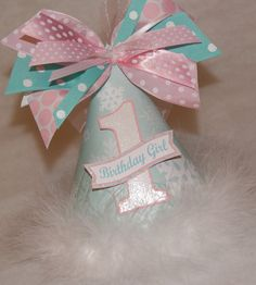 Aqua and Pink Winter Onederland Birthday Party Hat by shoplissy