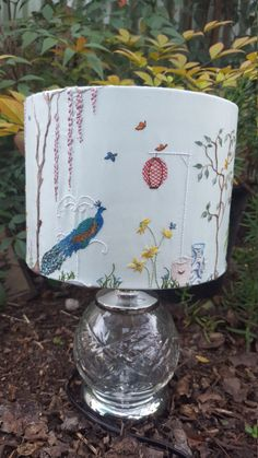 Wire Lampshade, Lampshade Designs, Chinoiserie Wallpaper, Yarn Thread, Unique Wall Art, Textile Art, Furniture Decor, Hand Embroidery, Art Ideas