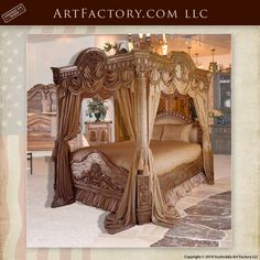 Custom Hand Carved Canopy Bed: Fine Art Designs By H. Nick - the finest quality furniture available anywhere at any price Wood Bed Design, Design Furniture, Sofa Design, Vintage Bedroom Furniture, Painting Wooden Furniture, Wooden Bedroom, Rustic Furniture, Best Outdoor Furniture, Cheap Furniture