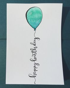 Happy birthday 5x7 calligraphy, hand lettering, metallic, watercolor card. (scheduled via http://www.tailwindapp.com?utm_source=pinterest&utm_medium=twpin&utm_content=post83821235&utm_campaign=scheduler_attribution) #ad