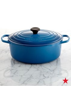 Bring on the roast! The functional oval shape of Le Creuset's cast iron french oven is perfect for family-sized portions of your favorite chicken or beef dish.